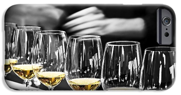 Flight iPhone Cases - Wine tasting glasses iPhone Case by Elena Elisseeva