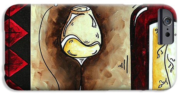 Red Wine Prints iPhone Cases - WINE TASTING Original MADART Painting iPhone Case by Megan Duncanson