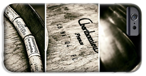 Vintage Wine Lovers Photographs iPhone Cases - Wine Tasting Triptych iPhone Case by Nomad Art And  Design