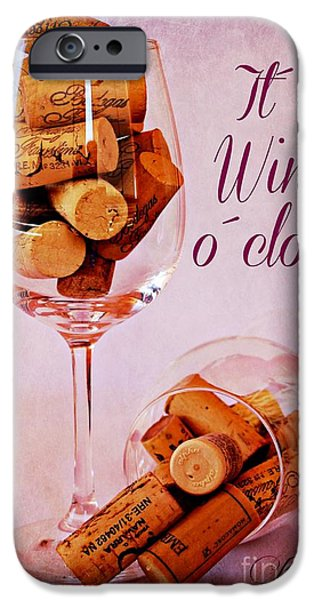Vintage Wine Lovers iPhone Cases - Wine Time iPhone Case by Clare Bevan