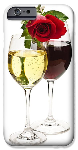 Toasting iPhone Cases - Wine with red rose iPhone Case by Elena Elisseeva