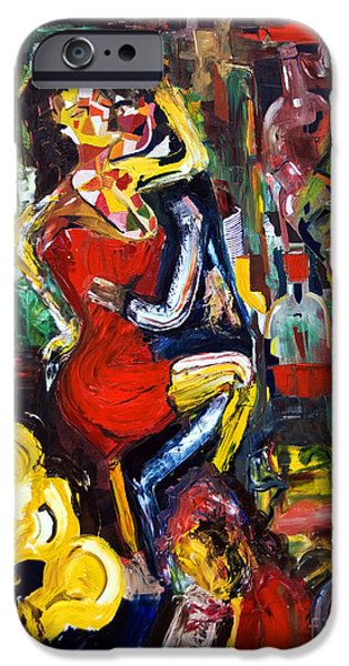 Dance Floor Paintings iPhone Cases - Wine Woman And Music iPhone Case by James Lavott