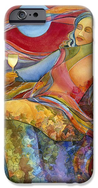 Vineyard Art iPhone Cases - Wine Woman and Song iPhone Case by Jen Norton
