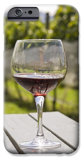 Table Wine iPhone Cases - Wineglass with red wine in vineyard iPhone Case by Patricia Hofmeester