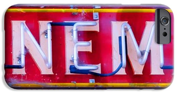 Red Wine iPhone Cases - Wineman Neon Sign iPhone Case by Tap On Photo