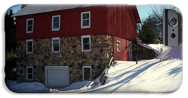Best Sellers -  - Red Barn In Winter iPhone Cases - Winery Barn in Winter iPhone Case by Desiree Paquette