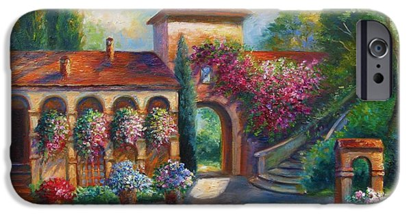 Garden Scene Paintings iPhone Cases - Winery in Tuscany iPhone Case by Gina Femrite