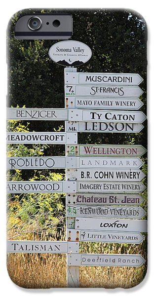 Wing Chee Tong iPhone Cases - Winery Street Sign In The Sonoma California Wine Country 5D24601 iPhone Case by Wingsdomain Art and Photography
