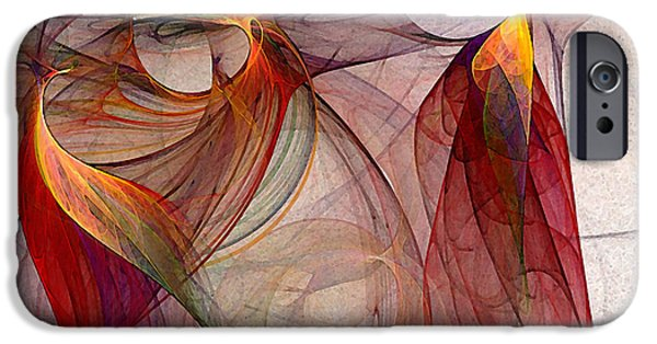 Poetic iPhone Cases - Winged-Abstract Art iPhone Case by Karin Kuhlmann