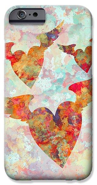Digital Watercolor Paintings iPhone Cases - Winged Hearts watercolor painting iPhone Case by Georgeta Blanaru