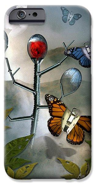 Men iPhone Cases - Winged Metamorphose iPhone Case by Billie Jo Ellis