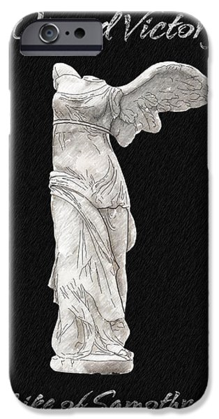 Statue Portrait Drawings iPhone Cases - Winged Victory - Nike of Samothrace iPhone Case by Jerrett Dornbusch