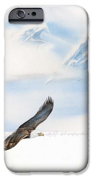 Eagle Paintings iPhone Cases - Wings As Eagles iPhone Case by Cliff Hawley