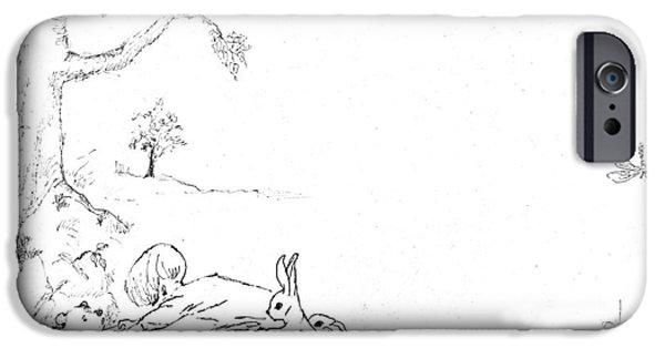 Young Paintings iPhone Cases - Winnie the Pooh and Crew in Pen  and Ink after E H Shepard iPhone Case by Maria Hunt