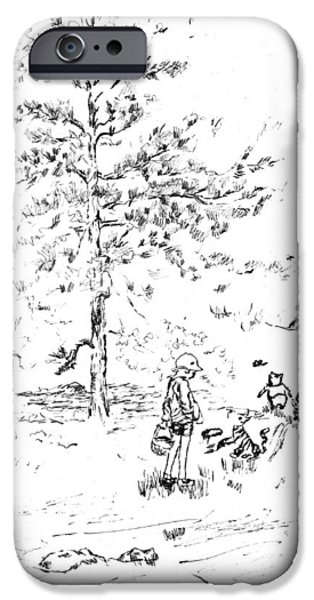 Young Paintings iPhone Cases - Winnie The Pooh goes on a Picnic   after E H Shepard iPhone Case by Maria Hunt