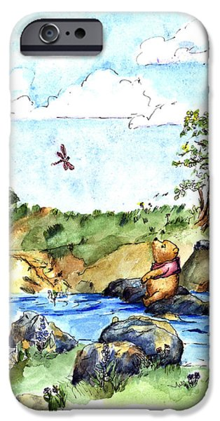Pen And Ink iPhone Cases - Winnie-the-Pooh -River after E  H Shepard iPhone Case by Maria Hunt