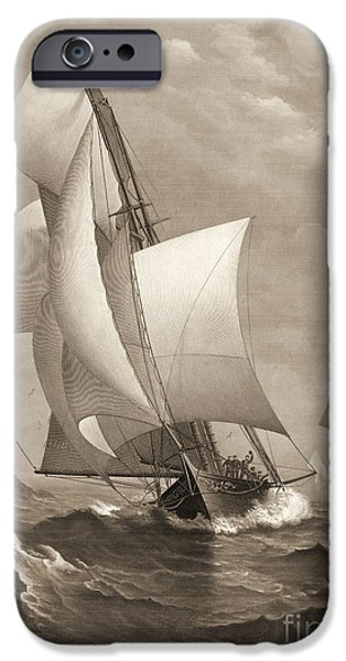 Padre Art iPhone Cases - Winning Yacht 1885 iPhone Case by Padre Art