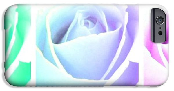 Floral Digital Art Digital Art iPhone Cases - Winsome Roses Trio iPhone Case by Will Borden