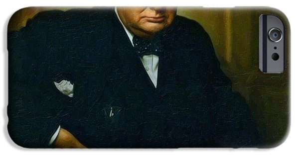 Election iPhone Cases - Winston Churchill iPhone Case by Adam Asar