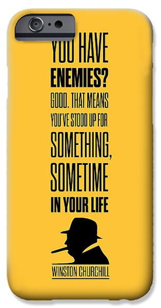 Politician iPhone Cases - Winston Churchill Inspirational Quotes Poster iPhone Case by Lab No 4 - The Quotography Department