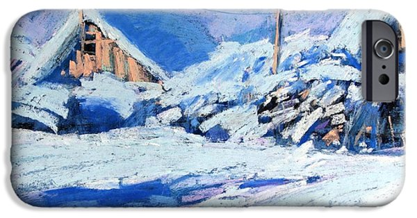 Village Pastels iPhone Cases - Winter iPhone Case by Alena Kogan