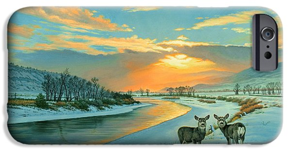 Fawn iPhone Cases - Winter Along the Yellowstone iPhone Case by Paul Krapf