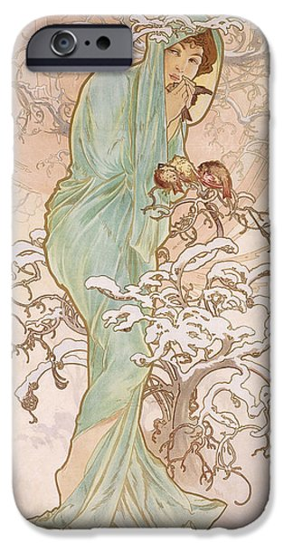 Snowy Drawings iPhone Cases - Winter iPhone Case by Alphonse Marie Mucha