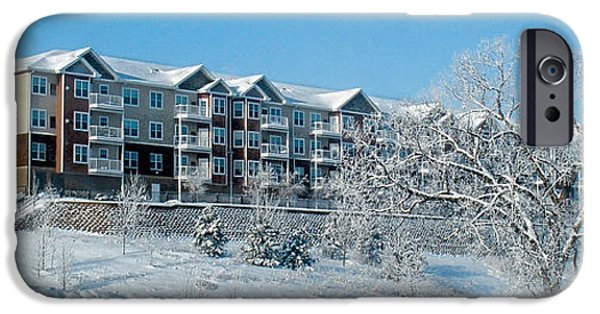 Balcony iPhone Cases - Winter Apartment Building iPhone Case by Patti Deters
