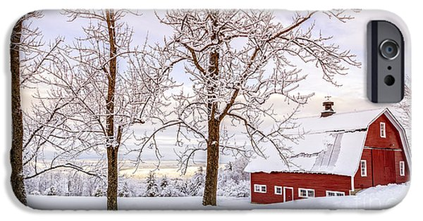 New England Barns iPhone Cases - Winter Arrives iPhone Case by Edward Fielding