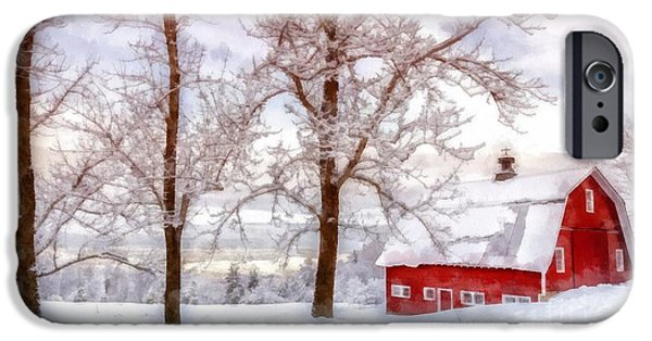 Farming Barns iPhone Cases - Winter Arrives Watercolor iPhone Case by Edward Fielding