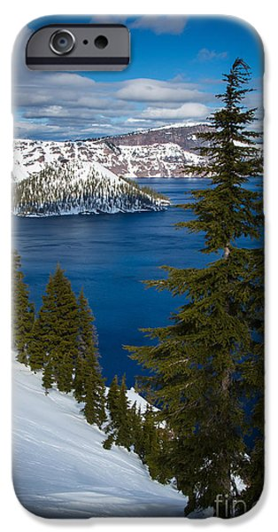 Drama iPhone Cases - Winter at Crater Lake iPhone Case by Inge Johnsson