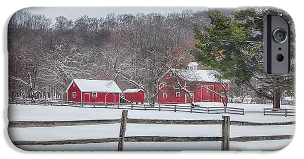 Red Barn In Winter iPhone Cases - Winter at Hale Farm iPhone Case by Daniel Behm