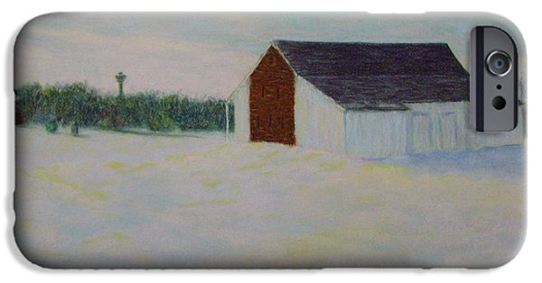 War Pastels iPhone Cases - Winter at McPhersons Barn Gettysburg iPhone Case by Joann Renner