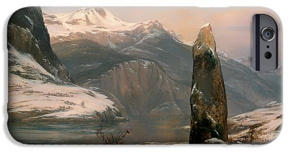 Norway Paintings iPhone Cases - Winter at Sogne Fjord iPhone Case by Johan Dahl
