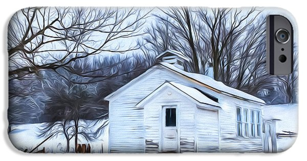 Recently Sold -  - Small iPhone Cases - Winter at the Amish Schoolhouse iPhone Case by Chris Bordeleau