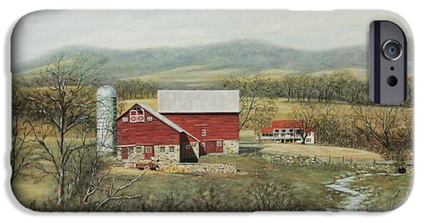Red Barn In Winter iPhone Cases - Winter at the Farm iPhone Case by George  Voyajolu