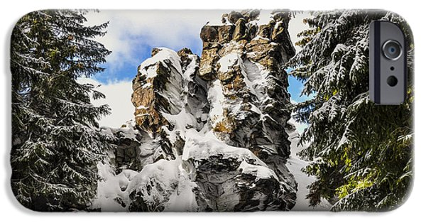 Snowy Day Digital Art iPhone Cases - Winter at the Stony Summit iPhone Case by Aged Pixel