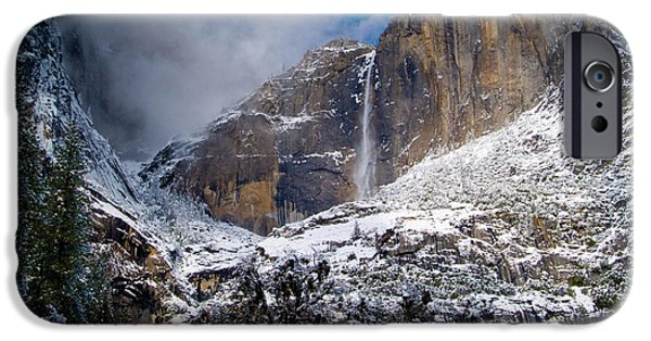 Bill Gallagher Photographs iPhone Cases - Winter at Yosemite Falls iPhone Case by Bill Gallagher