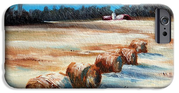 Haybales Paintings iPhone Cases - Winter Bales iPhone Case by Meaghan Troup