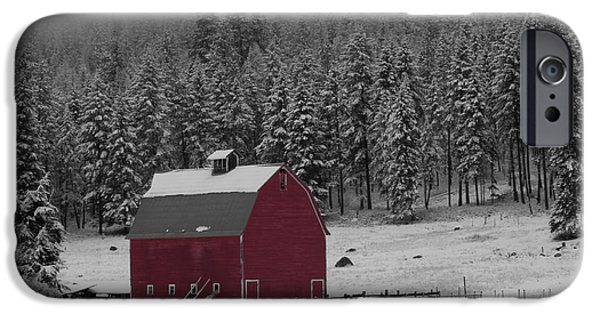Selective Coloring Art iPhone Cases - Winter Barn in Red iPhone Case by Mark Kiver
