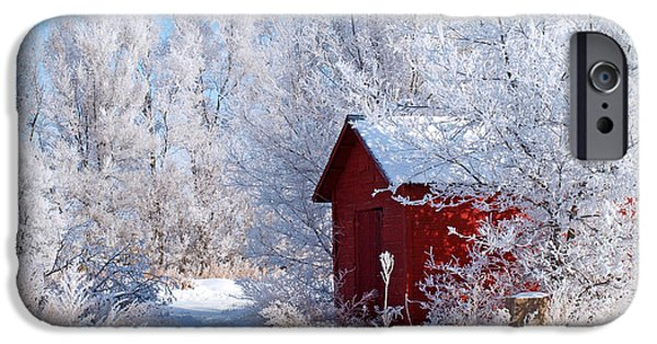 Red Barn In Winter iPhone Cases - Winter Barn iPhone Case by Judy Chandlee