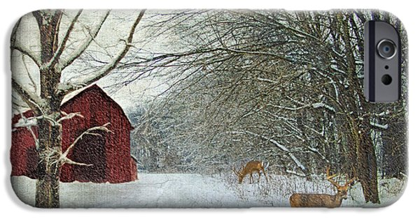 Christmas Greeting iPhone Cases - Winter Barn iPhone Case by Lianne Schneider