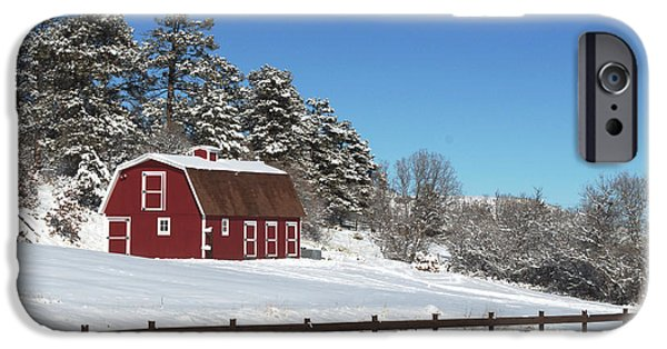 Red Barn In Winter iPhone Cases - Winter Barn iPhone Case by Paula Contreras