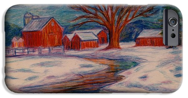 Barns Pastels iPhone Cases - Winter Barn Scene iPhone Case by Kendall Kessler