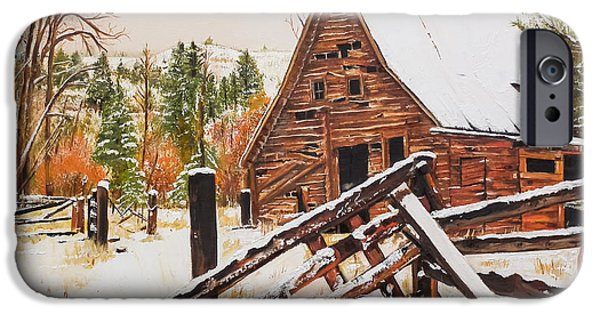 Old Barns iPhone Cases - Winter - Barn - Snow in Nevada iPhone Case by Jan Dappen