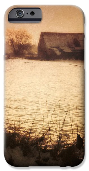 Barns iPhone Cases - Winter Barn iPhone Case by Wim Lanclus