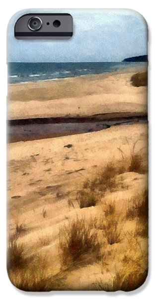 Wintertime Digital Art iPhone Cases - Winter Beach at Pier Cove ll iPhone Case by Michelle Calkins