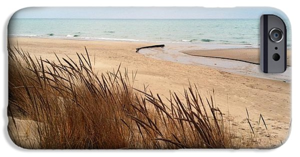 Wintertime iPhone Cases - Winter Beach at Pier Cove iPhone Case by Michelle Calkins