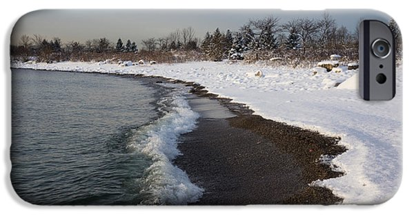 Snowbank iPhone Cases - Winter Beach - Lake Ontario Toronto Canada iPhone Case by Georgia Mizuleva