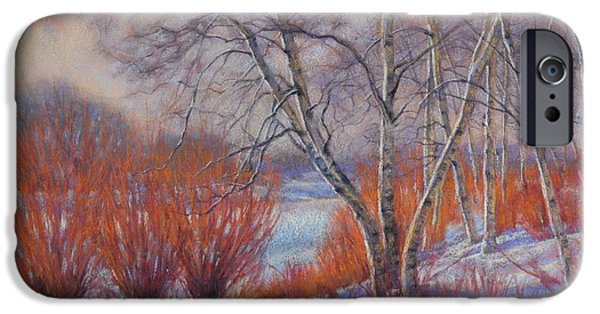 Botanical Pastels iPhone Cases - Winter Birches and Red Willows 1 iPhone Case by Fiona Craig